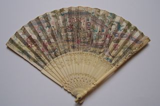 printed chinoiserie famille rose fan